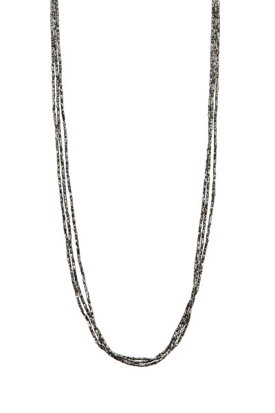 Caroline Ellen - Gold Three Strand Black Diamond Necklace