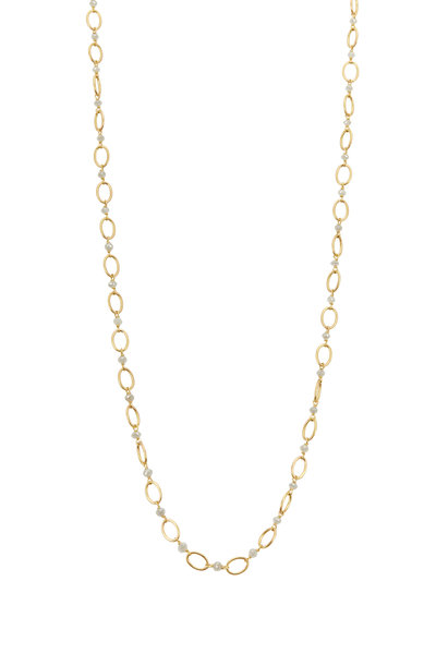 Caroline Ellen - 20K Yellow Gold Airy Link Diamond Necklace