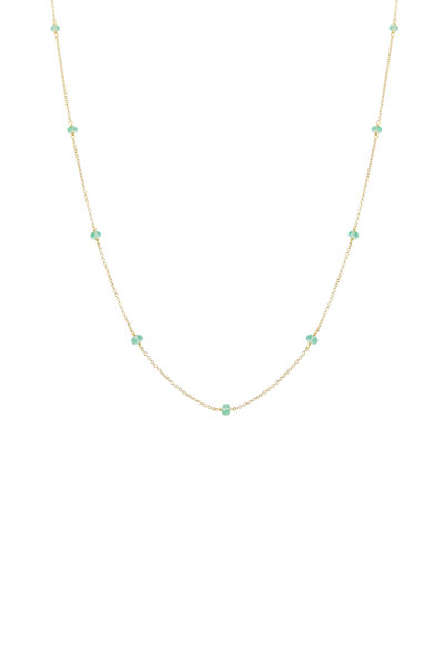 Caroline Ellen - Yellow Gold Faceted Emerald Bead Chain Necklace
