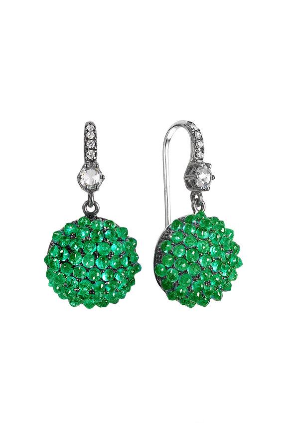 Nam Cho 18K Blackened White Gold Emerald Ball Earrings