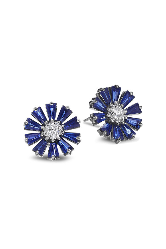 Nam Cho 18K White Gold Diamond & Sapphire Flower Studs