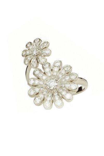 Nam Cho - 18K Gold & Platinum Diamond Double Daisy Ring