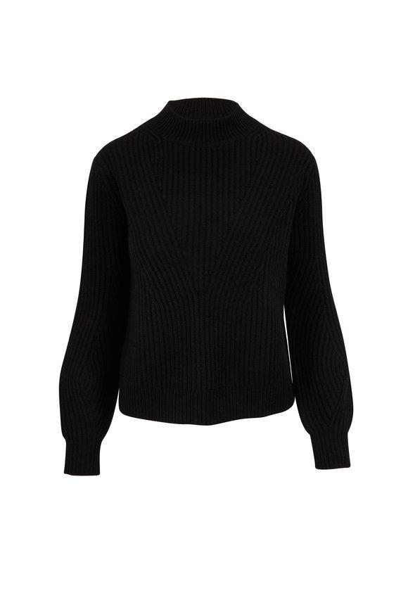 Chinti & Parker Black Wool & Cashmere Rib Knit Mock Neck Sweater