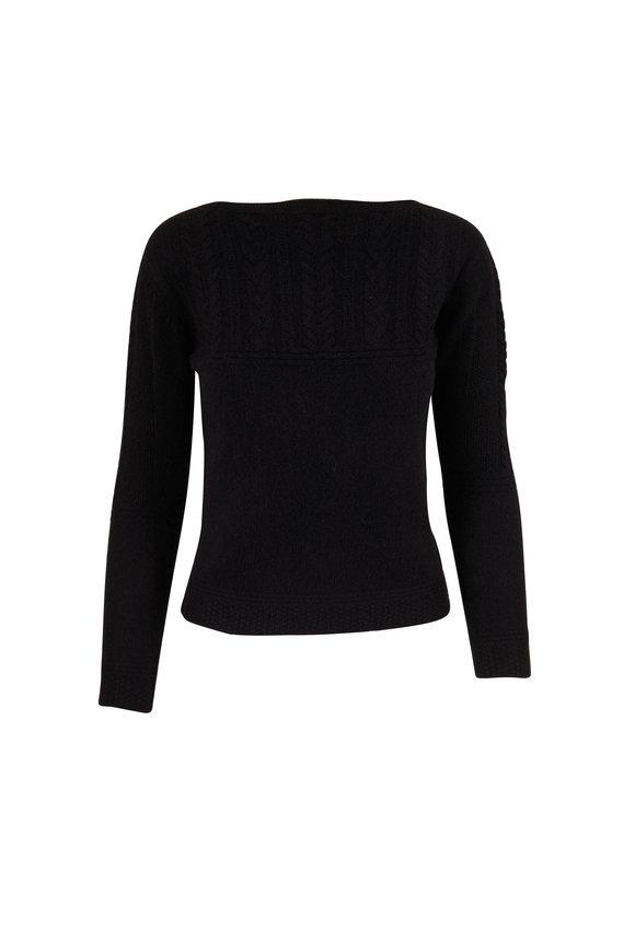 Jumper 1234 Black Cashmere Guernsey Braided Boatneck Sweater