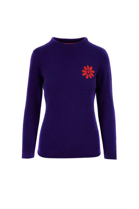 The Elder Statesman Dark Blue Cashmere Embroidered Crewneck Sweater