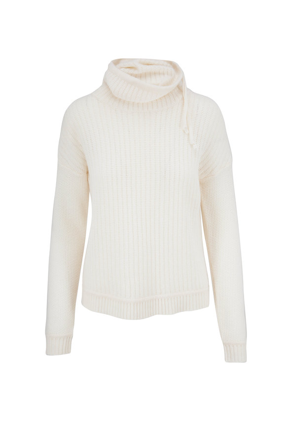 Kinross Bianco Cashmere Drawstring Cowlneck Sweater