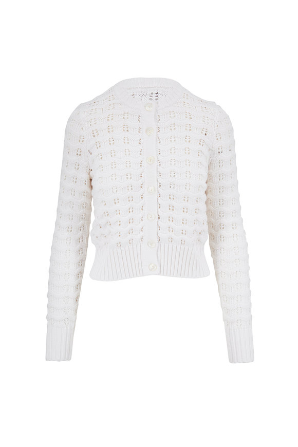 Kinross Winter White Textured Knit Cardigan