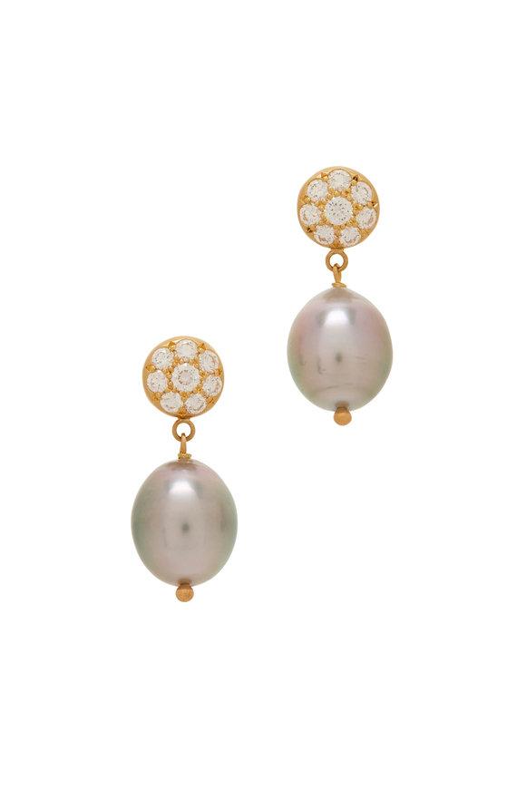 Caroline Ellen Yellow Gold Tahitian Pearl Earrings
