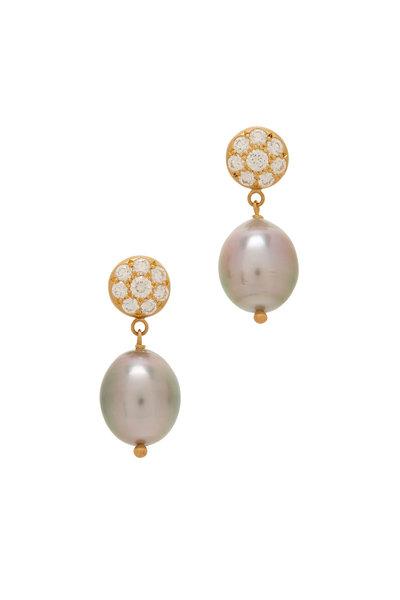 Caroline Ellen - Yellow Gold Tahitian Pearl Earrings