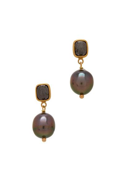 Caroline Ellen - 22K Yellow Gold Black Diamond & Pearl Earrings