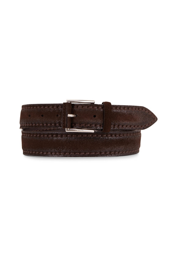 Orciani  Brown Leather & Suede Belt