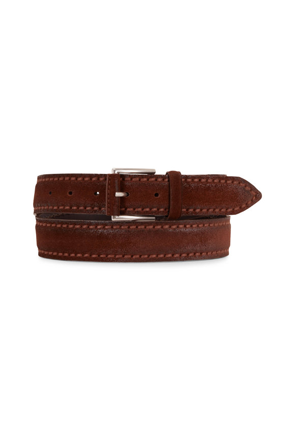 Orciani  Dark Brown Leather & Suede Belt