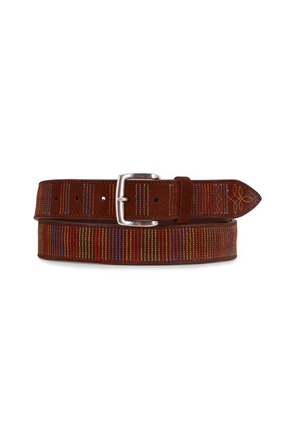 Orciani  Brown Leather/Suede Multicolor Stitch Belt