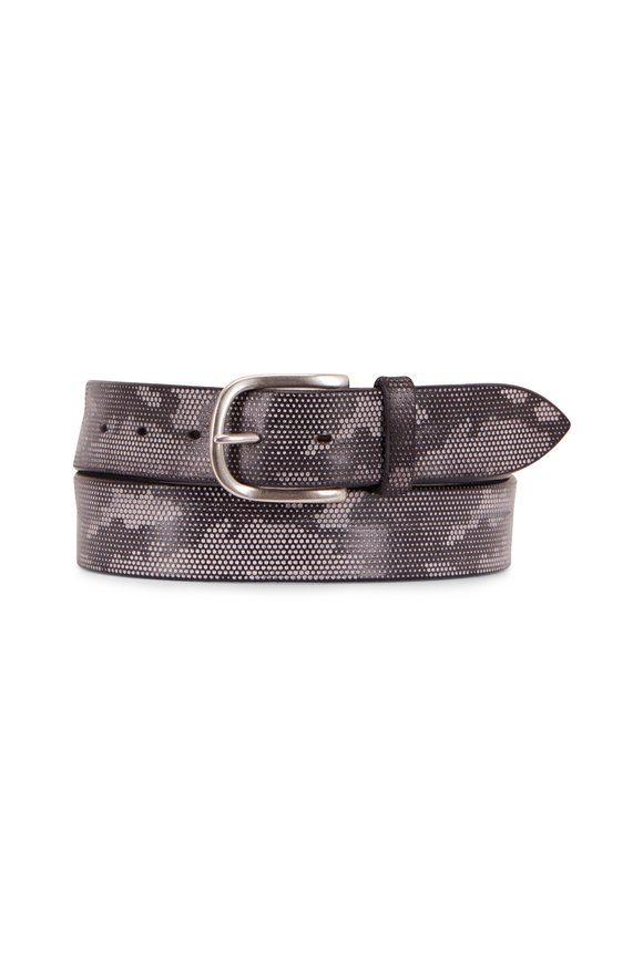 Orciani  Black Leather Camo Belt