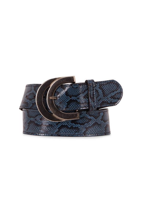 Kim White Blue Snakeskin Embossed Double Buckle Belt