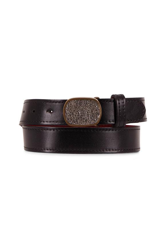 Kim White Black Smooth Leather Inlay Buckle Belt