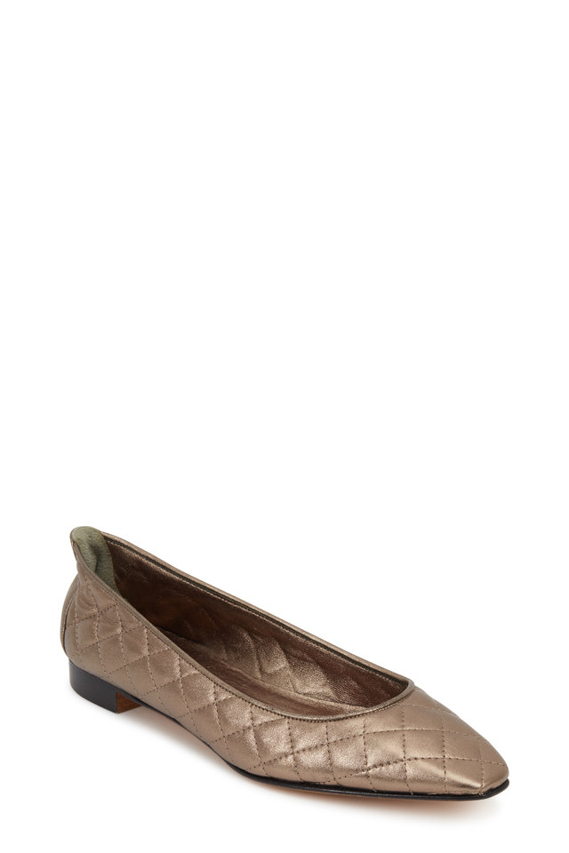 Giungla Pewter Quilted Leather Ballerina Flat