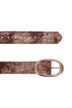 Kim White - Smoky Brown Metallic Oval Buckle Belt
