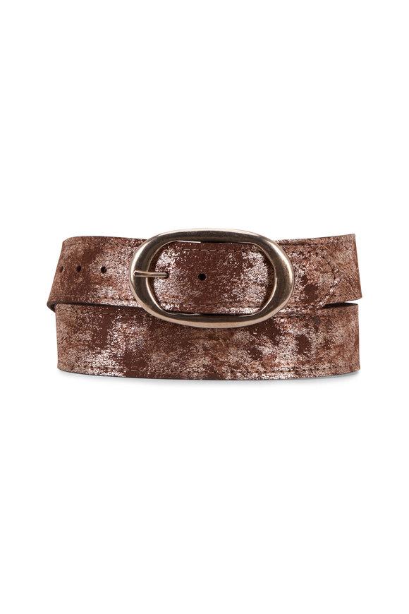 Kim White Smoky Brown Metallic Oval Buckle Belt