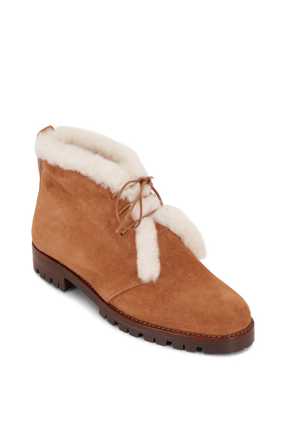 Manolo Blahnik Mircus Cognac Suede Shearling Lace-Up Booties
