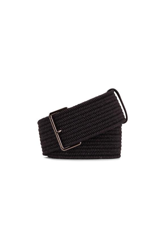 Brunello Cucinelli Black Wide Raffia Single Monili Loop Belt