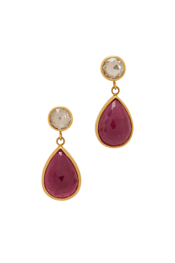 Caroline Ellen 22K Yellow Gold Ruby & Sapphire Drop Earrings