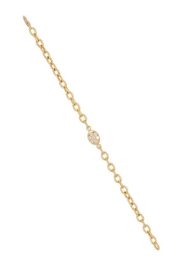 Caroline Ellen 20K Yellow Gold Pavé Nugget Chain Bracelet