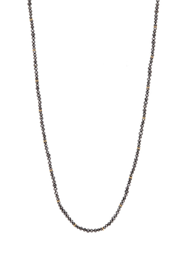 Caroline Ellen 20K Yellow Gold Black Diamond Beaded Necklace
