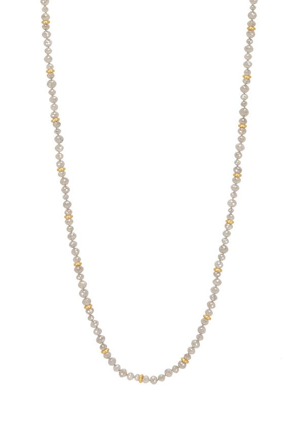 Caroline Ellen 20K Yellow Gold Gray Diamond Beaded Necklace