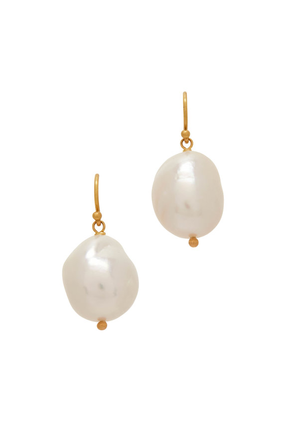 Caroline Ellen 20K Yellow Gold Baroque South Sea Pearl Earrings