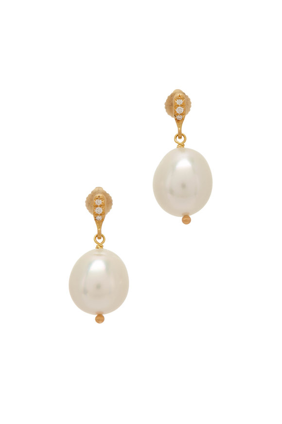 Caroline Ellen Yellow Gold South Sea Pearl Dangle Earrings