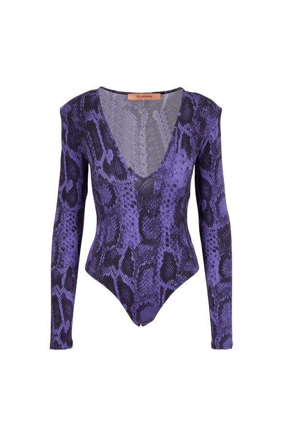 Andamane Carmel Lilac Snake Print Deep V-Neck Bodysuit