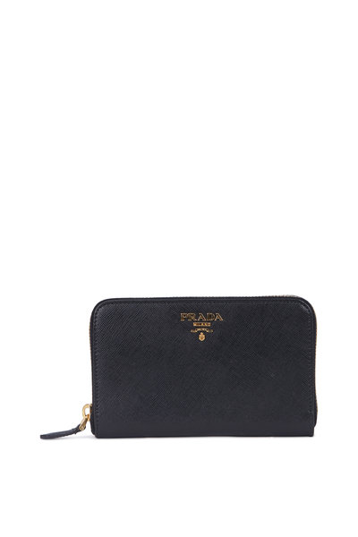 Prada - Saffiano Black Leather Zip-Around Wallet