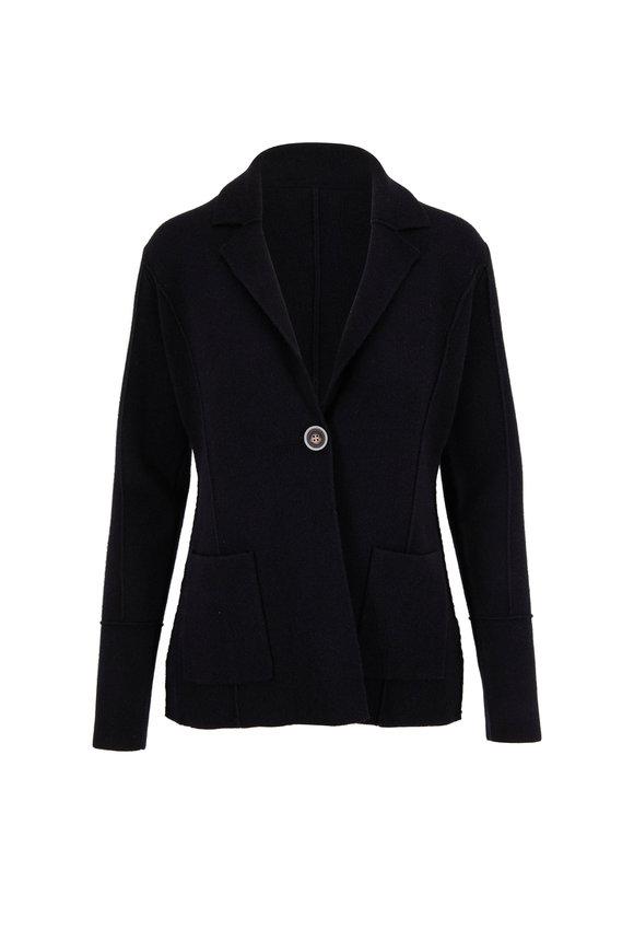Kinross Black Cashmere Double Knit Blazer