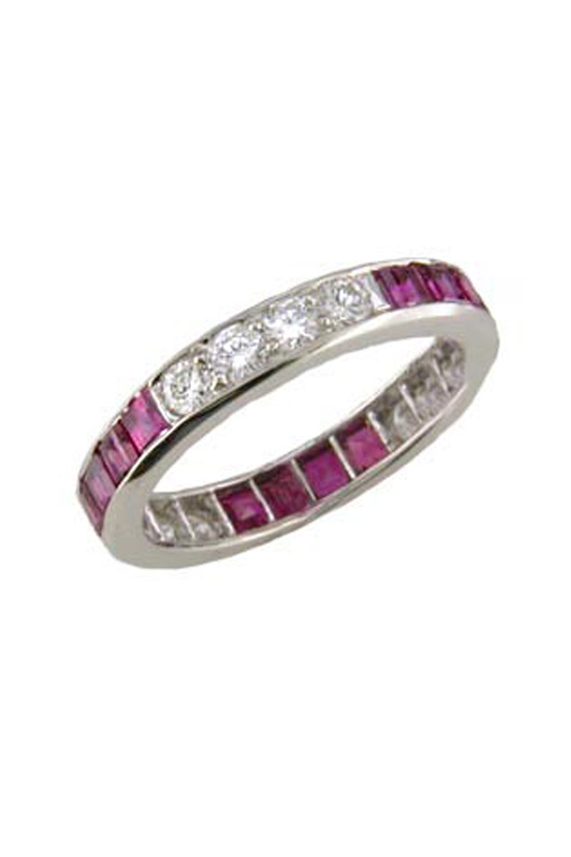 Platinum Ruby & Diamond Guard Ring