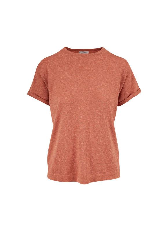 Brunello Cucinelli Orange Cashmere Lurex T-Shirt