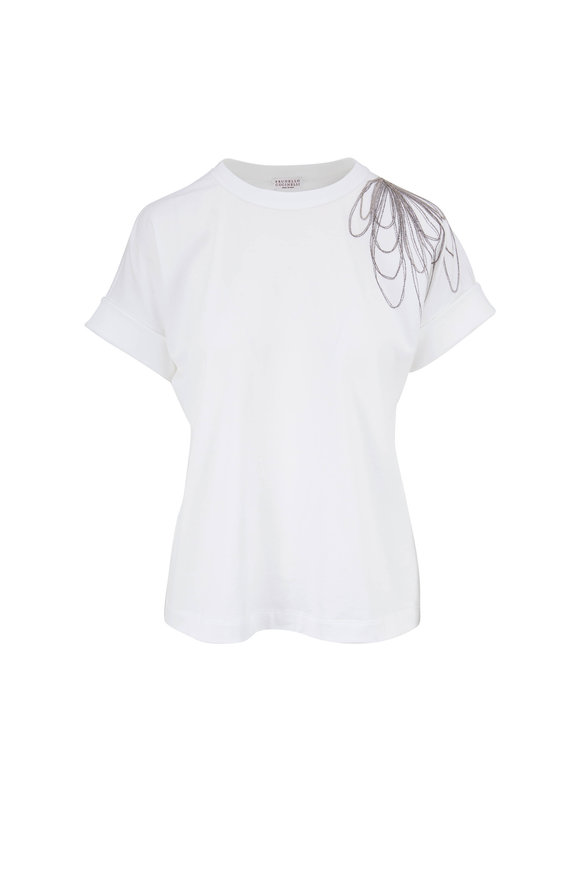 Brunello Cucinelli White Cotton T-Shirt with Monili Floral Detail