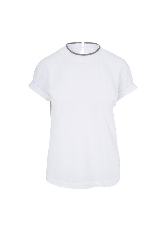 Brunello Cucinelli White Cotton Short Sleeve Monili Crewneck T-Shirt
