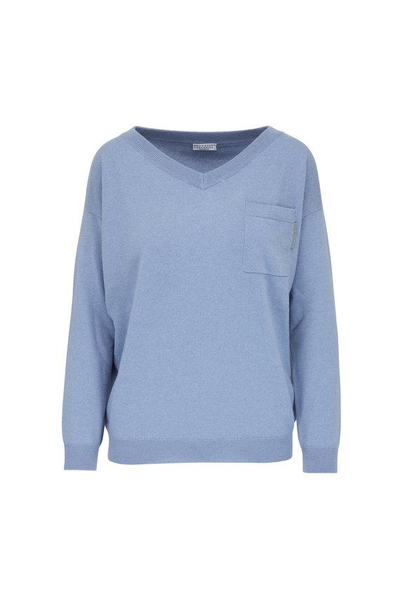 Brunello Cucinelli Celadon Cashmere Patch Pocket V-Neck Sweater