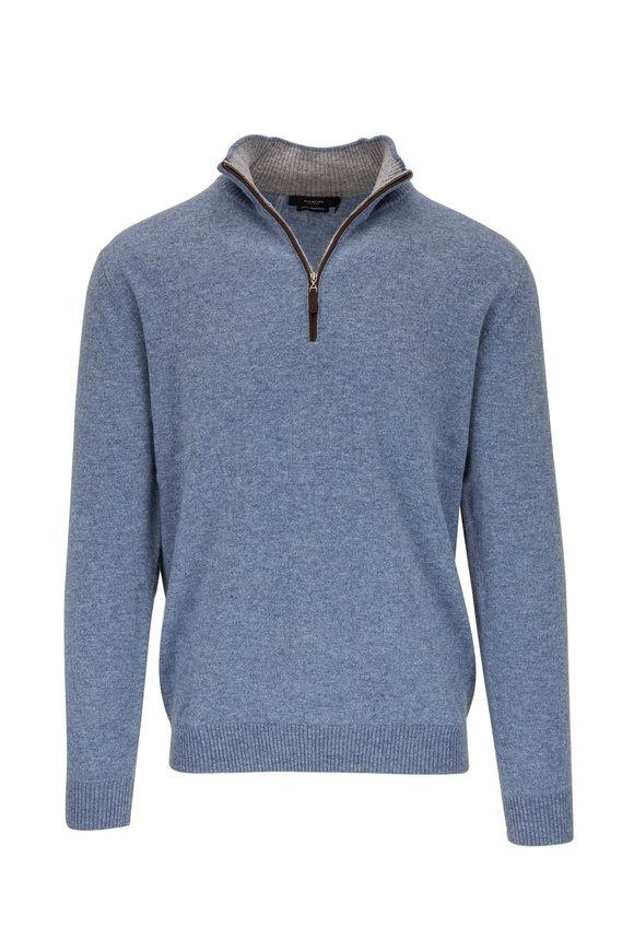 Kinross Indigo Cashmere Quarter-Zip Pullover