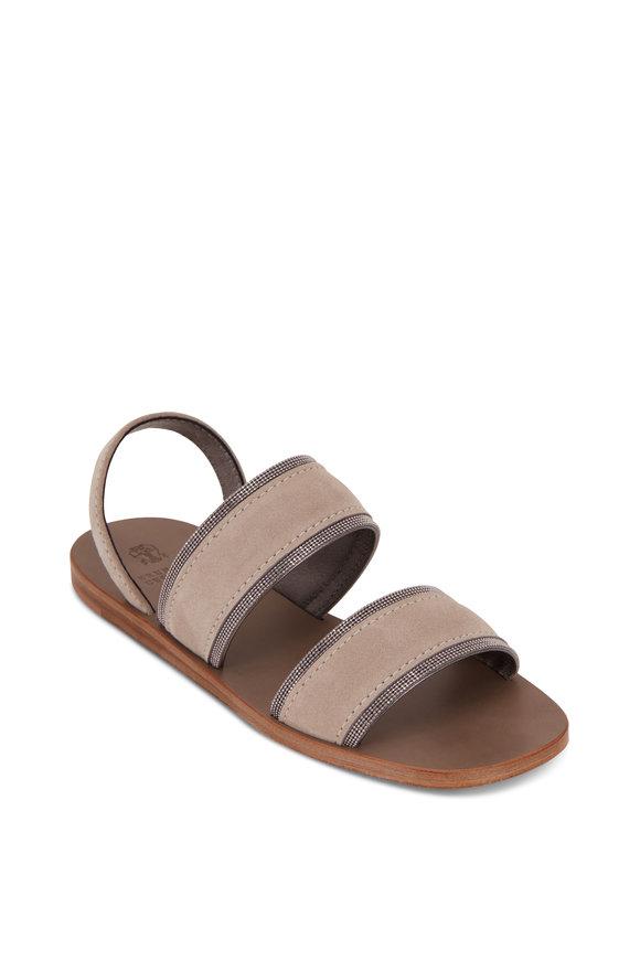 Brunello Cucinelli Taupe Monili Two Strap Sandals