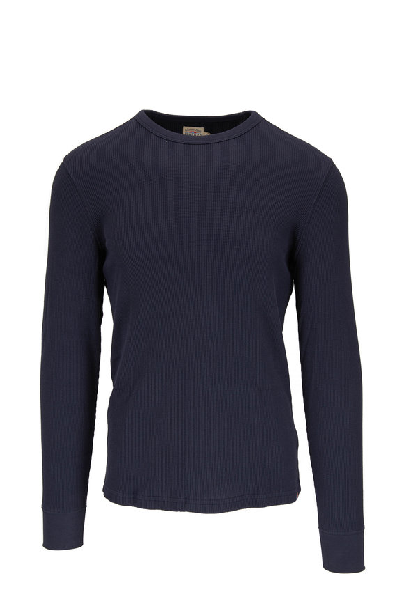 Faherty Brand Essential Navy Blue Waffle Crew