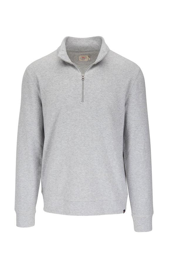 Faherty Brand Legend Light Gray Heather Quarter-Zip Sweater
