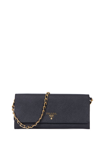 Prada - Black Saffiano Wallet With Chain