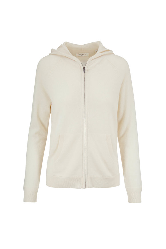 Chinti & Parker Cream Cashmere Hooded Knit Cardigan