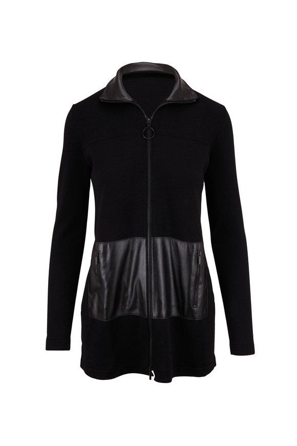Akris Punto Black Knit & Leather Detail Cardigan