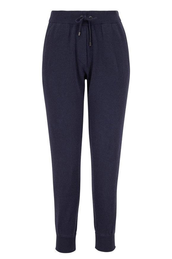 Brunello Cucinelli Midnight Wool & Cashmere Spa Pant