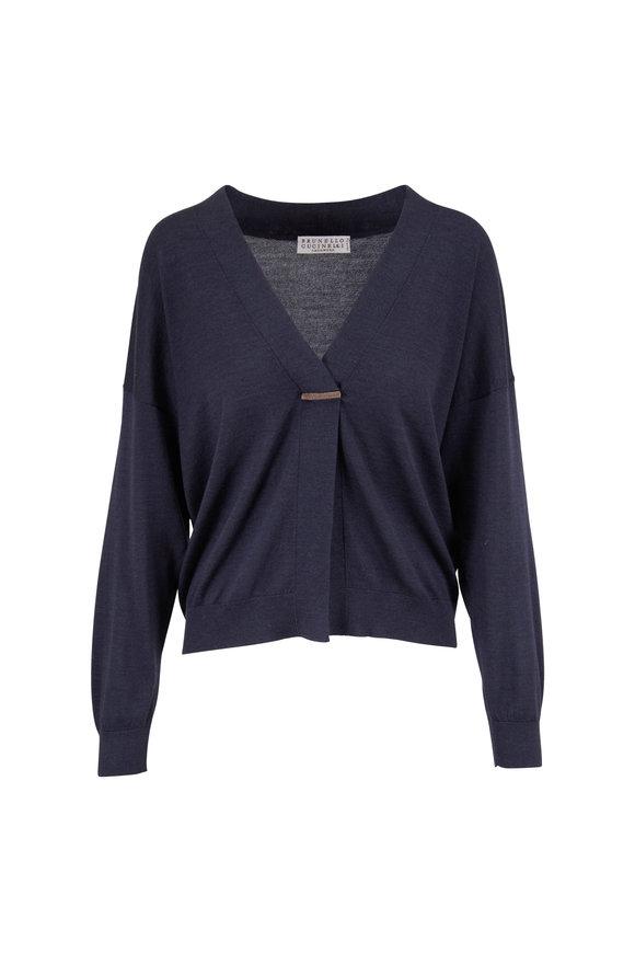 Brunello Cucinelli Midnight Cotton & Silk Button-Up Cardigan