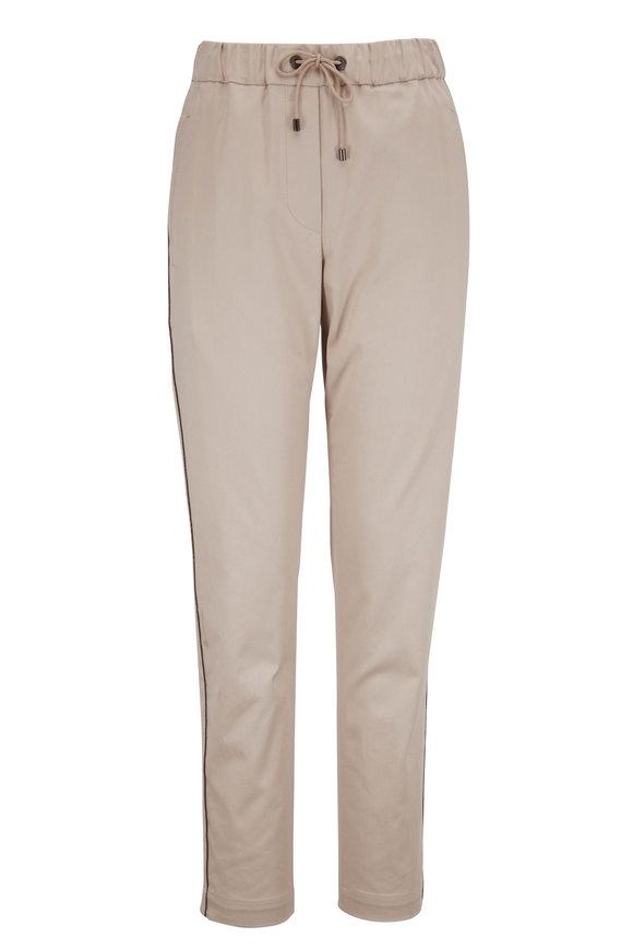 Brunello Cucinelli Desert Cotton Monili Stitching Jogger Pant