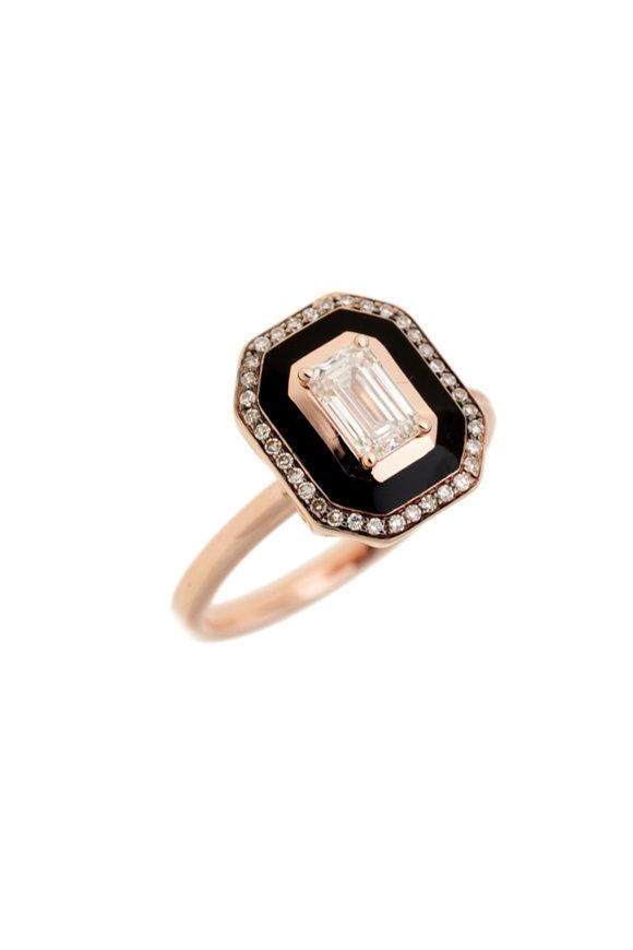 Selim Mouzannar Pink Gold Diamond & Black Enamel Ring